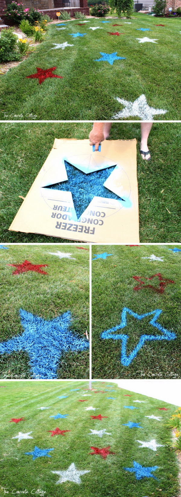 DIY 4th of July Decorations: 4th Of July Spray Painted Lawn Stars.