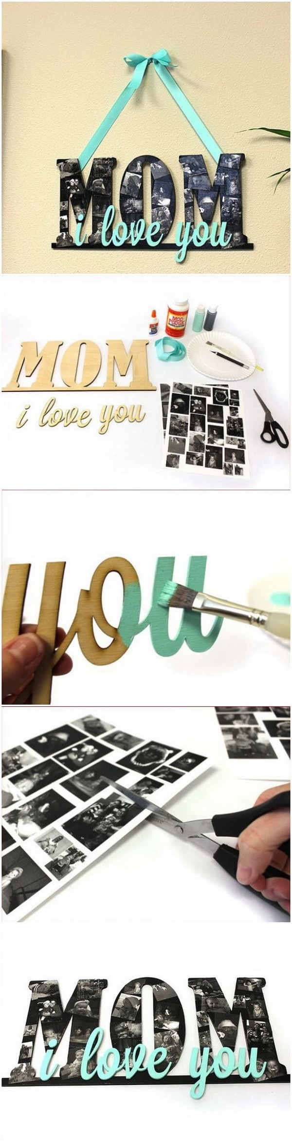 Mother's Day Crafts and gifts: MOM Collage Sign.