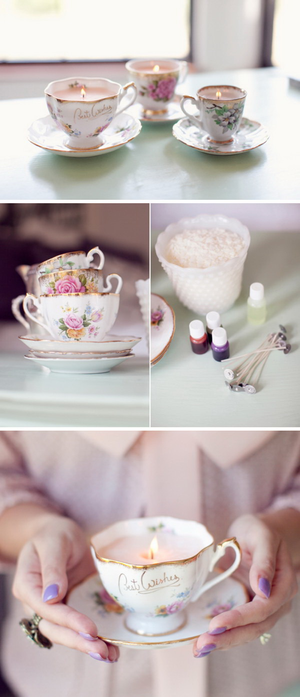 Mother's Day Crafts and gifts: DIY Vintage Teacup Candles.