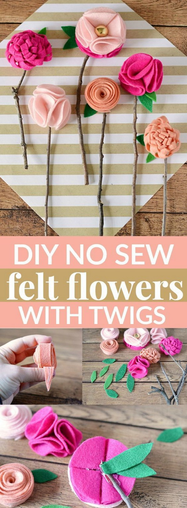 Mother's Day Crafts and gifts: DIY No Sew Felt Flowers With Twigs.