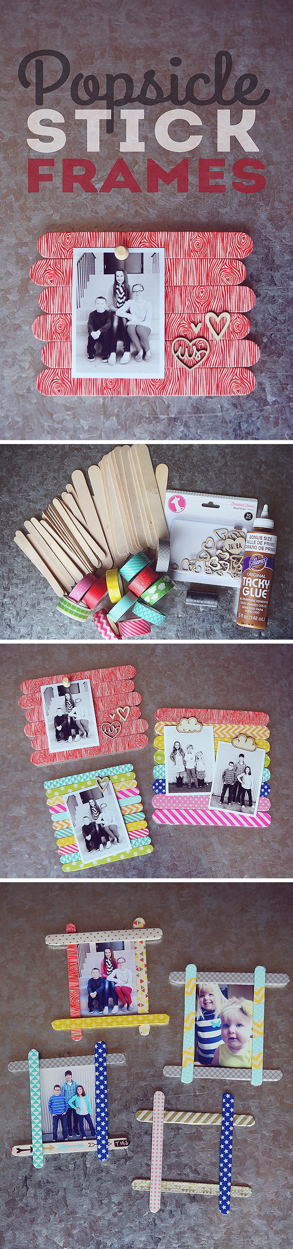 Mother's Day Crafts and gifts: Craft Stick Photo Frames.