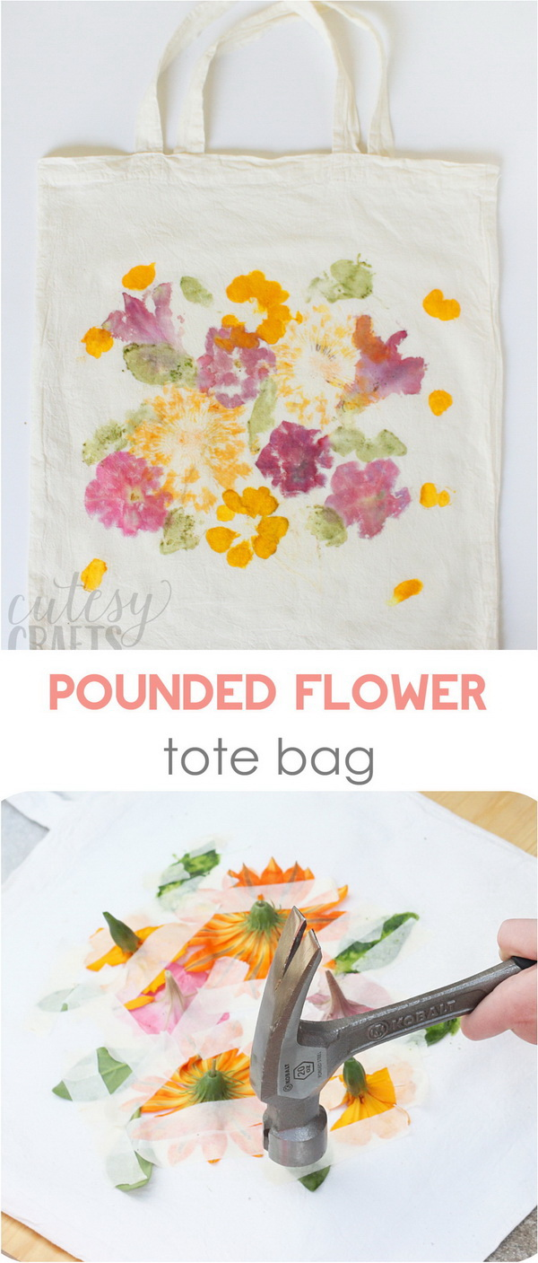 Mother's Day Crafts and gifts: Pounded Flower Tote.