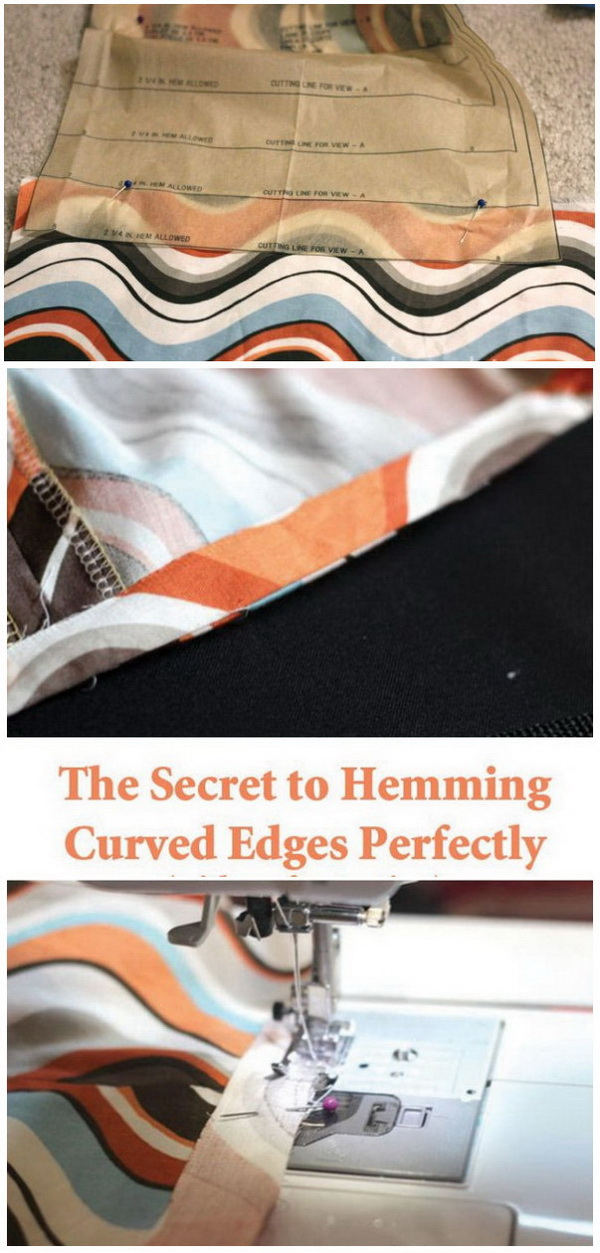 Genius Sewing Tips & Tricks: Tricky Way to Hem Smooth and Wide Curved Edges.