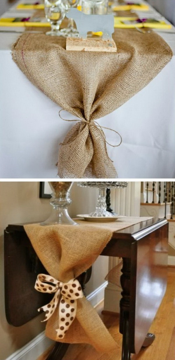 DIY Burlap Table Runner. Add a little rustic and a little country to your fall table with this DIY burlap table ruuner.