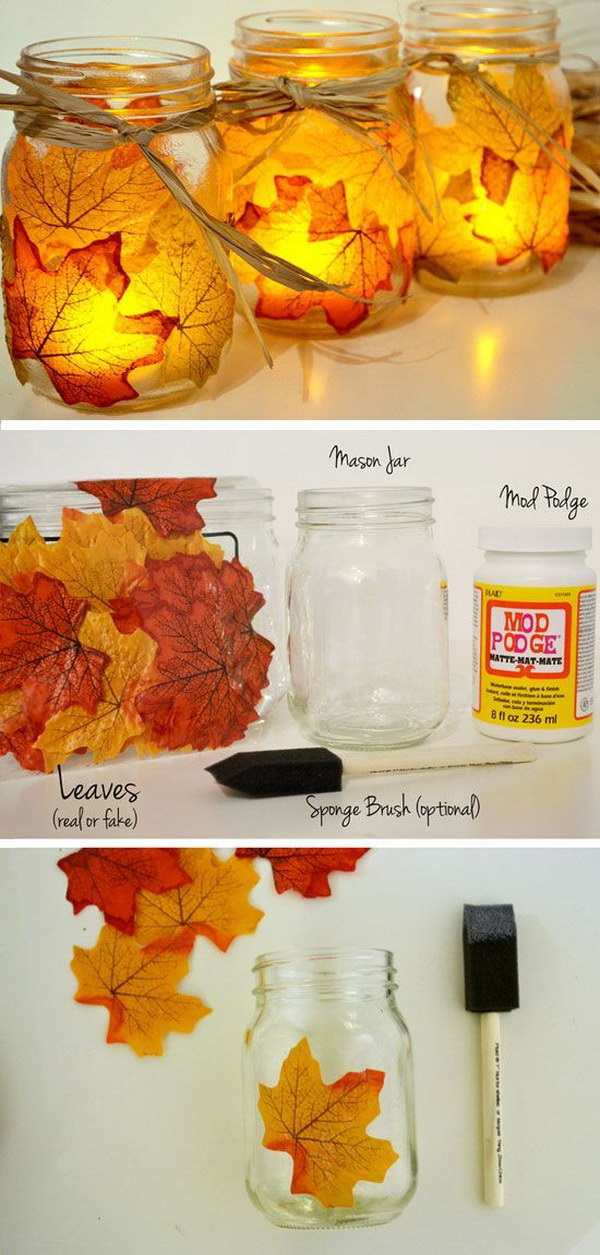 DIY Leaf Mason Jar Candle Holder. Bring the natural beauty of the season into your home decor with these lovely DIY autumn leaf mason jar candle holders! They would add a festive touch for this particular season.