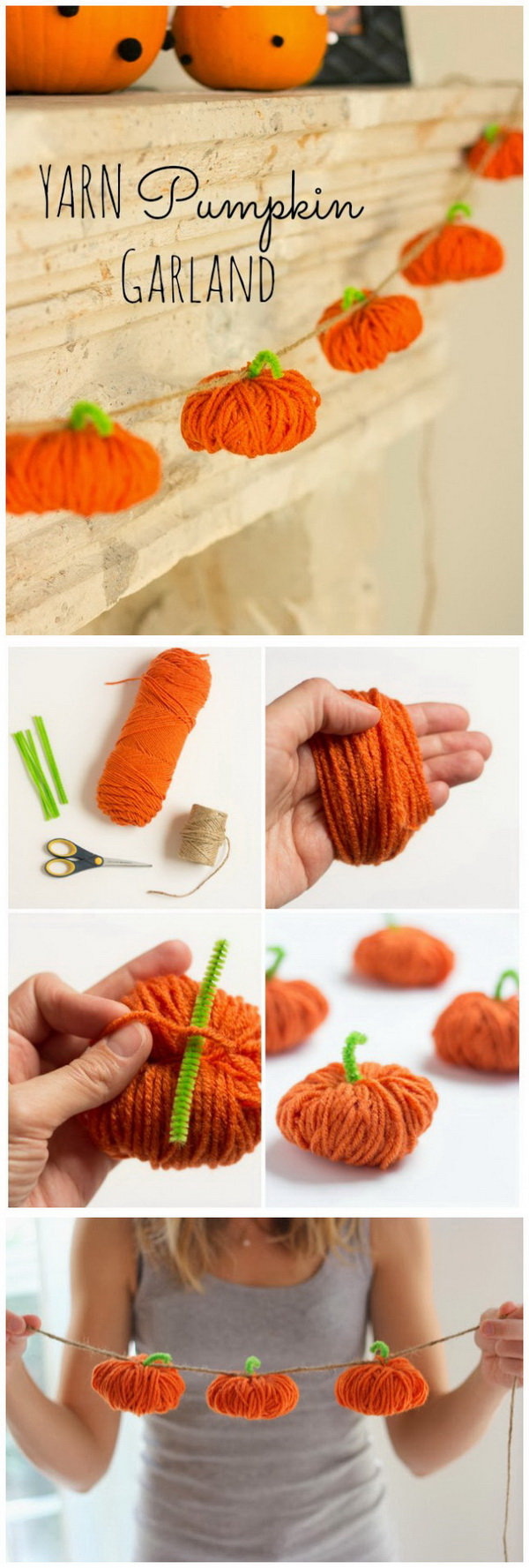Yarn Pumpkin Garland. Make use of the leftover yarn stash at home and whip up a cute string of festive fall decor. It is perfect for your mantle!