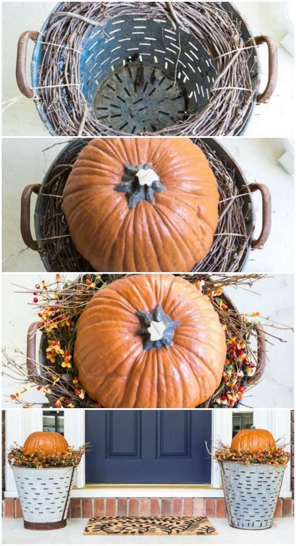 DIY Fall Olive Bucket Pumpkin Planters. Pumpkins say much for fall and thanksgiving celebration and decorations! Create two large planters for the front door by raise the pumpkins in the olive buckets. Super easy and quick to make.