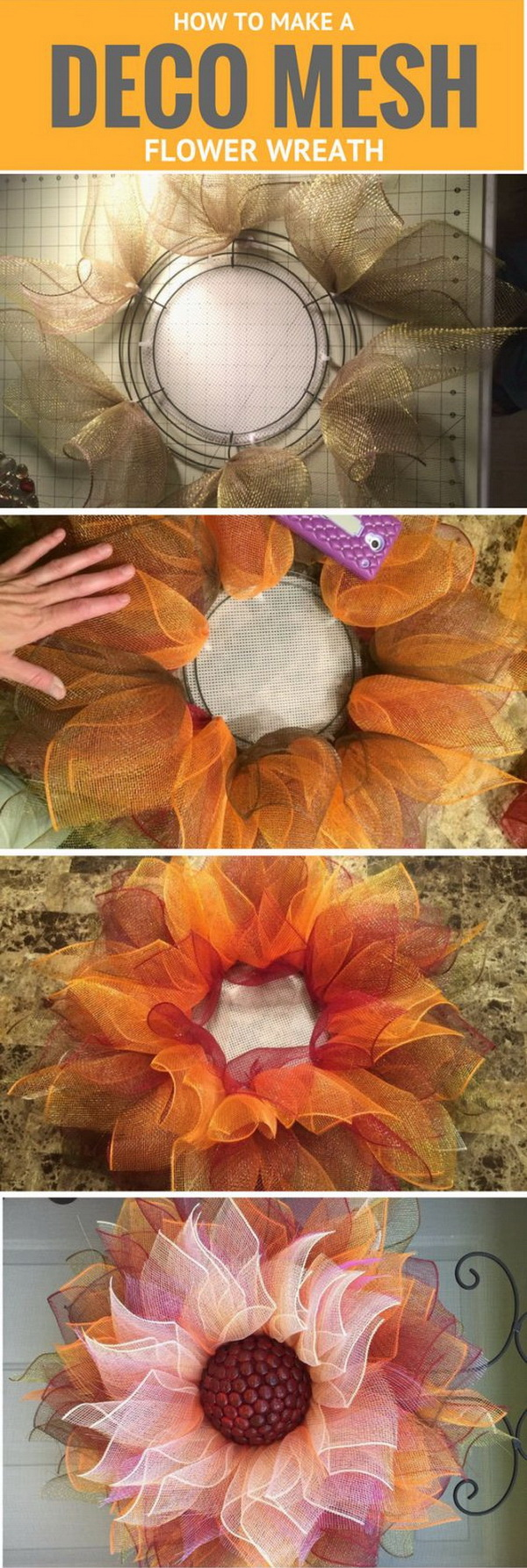 Flower Deco Mesh Wreath. Deco mesh is a popular ribbon that's an essential material in numerous crafts for its flexibility and the wide variety of colors. Deco mesh can be used to create colorful, seasonal wreaths, for instance. This flower deco mesh wreath turns out beautiful and perfect for fall and Thanksgiving Day!