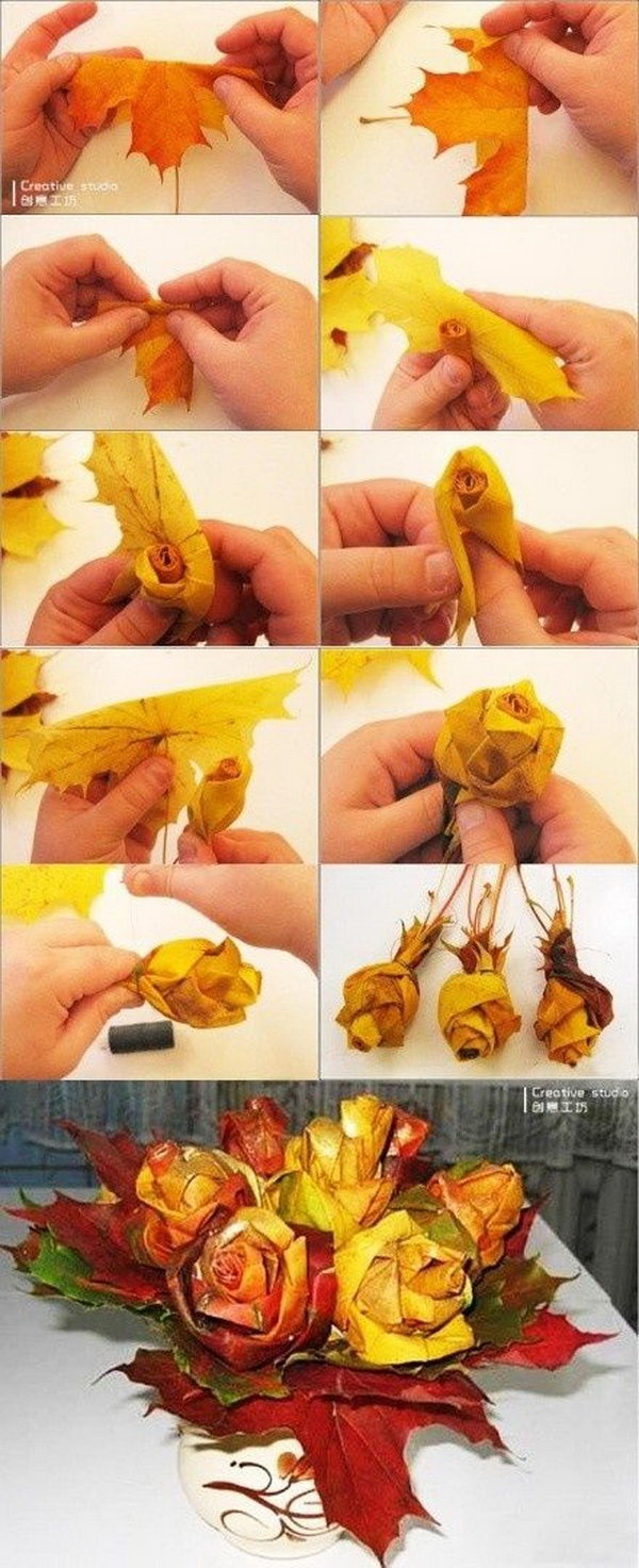 Autumn Leaf Rose Bouquet. It is not so difficult to make roses out of leaves with these step by step tutorials. Make a bouquet with a bundle ofthese leaf roses and it would be really cool and unique for an Autumn wedding.