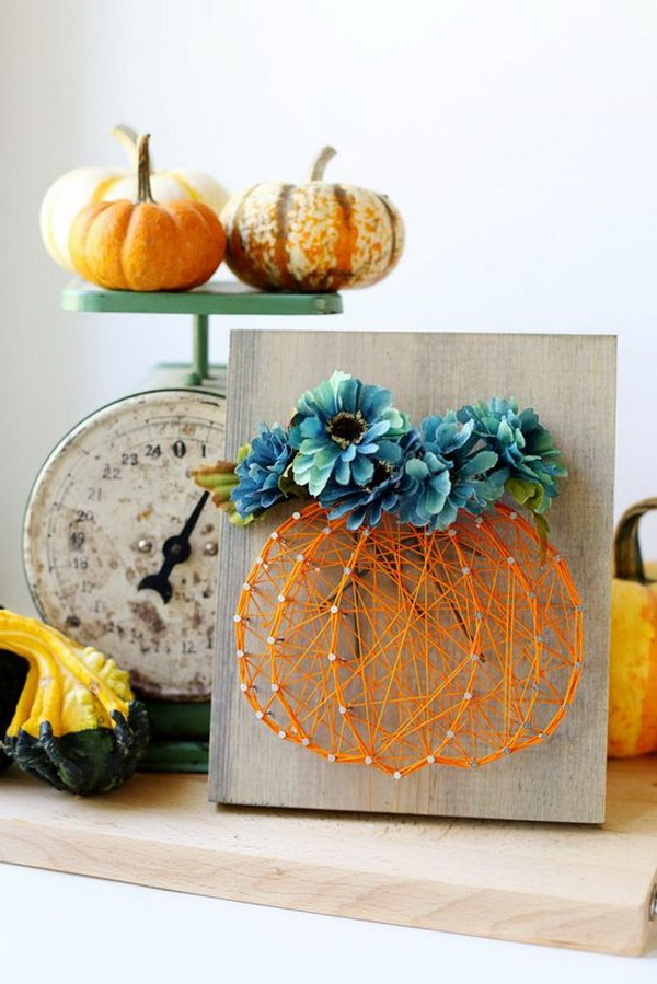 Pumpkin and Fall Flowers String Art. Try something more creative for your fall or thanksgiving decoration, like this pumpkin and fall flowers string art!
