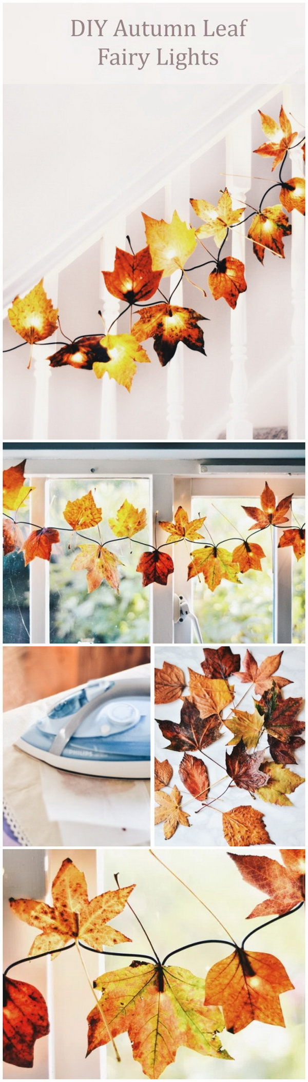DIY Autumn Leaf Fairy Lights. Great lighting ideas for the upcome fall and thanksgiving season and bring some autumn decor into your home in a really easy, fun and inexpensive way!
