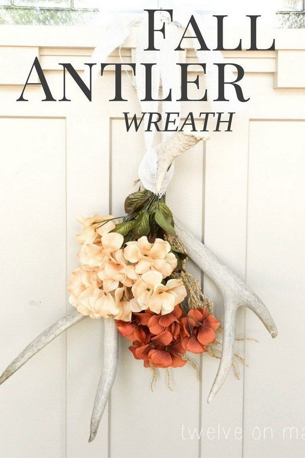 Fall Antler Wreath. Another rustic and shabby chic decor for fall! Instead of the traditional flower or fabric wreath, try to a unique antler wreath for your front door this year!