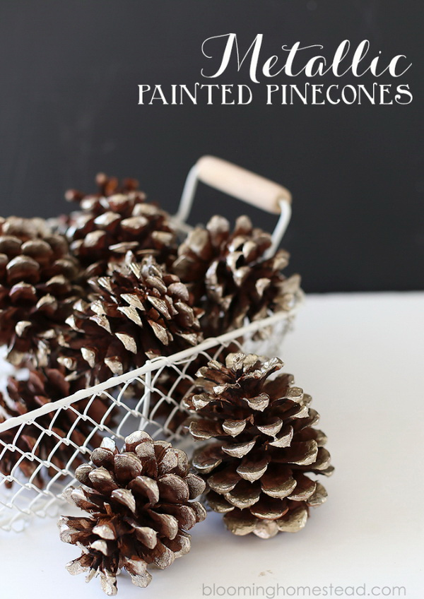 These Metallic Painted Pinecones are so simple and beautiful and they make a great addition to any fall/winter home decor.