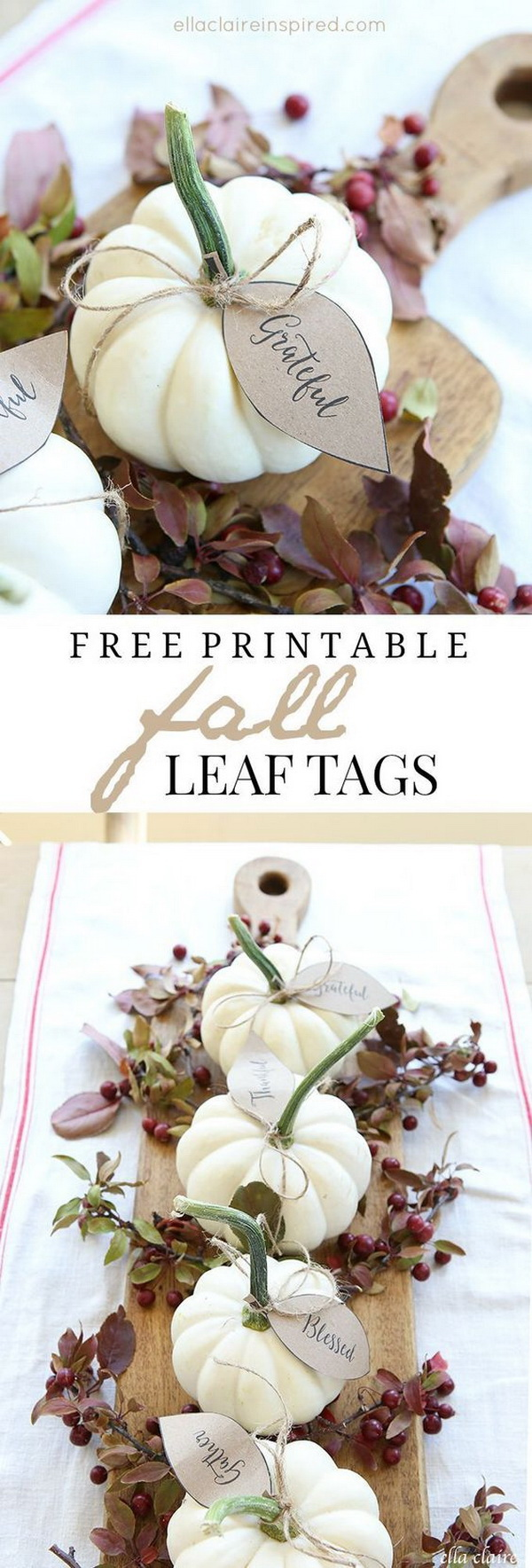 Pumpkin Leaves Free Printable. Great pumpkin centerpiece with lovely printables for you to add to your home decor! It also makes a little gift to yours this Autumn season!