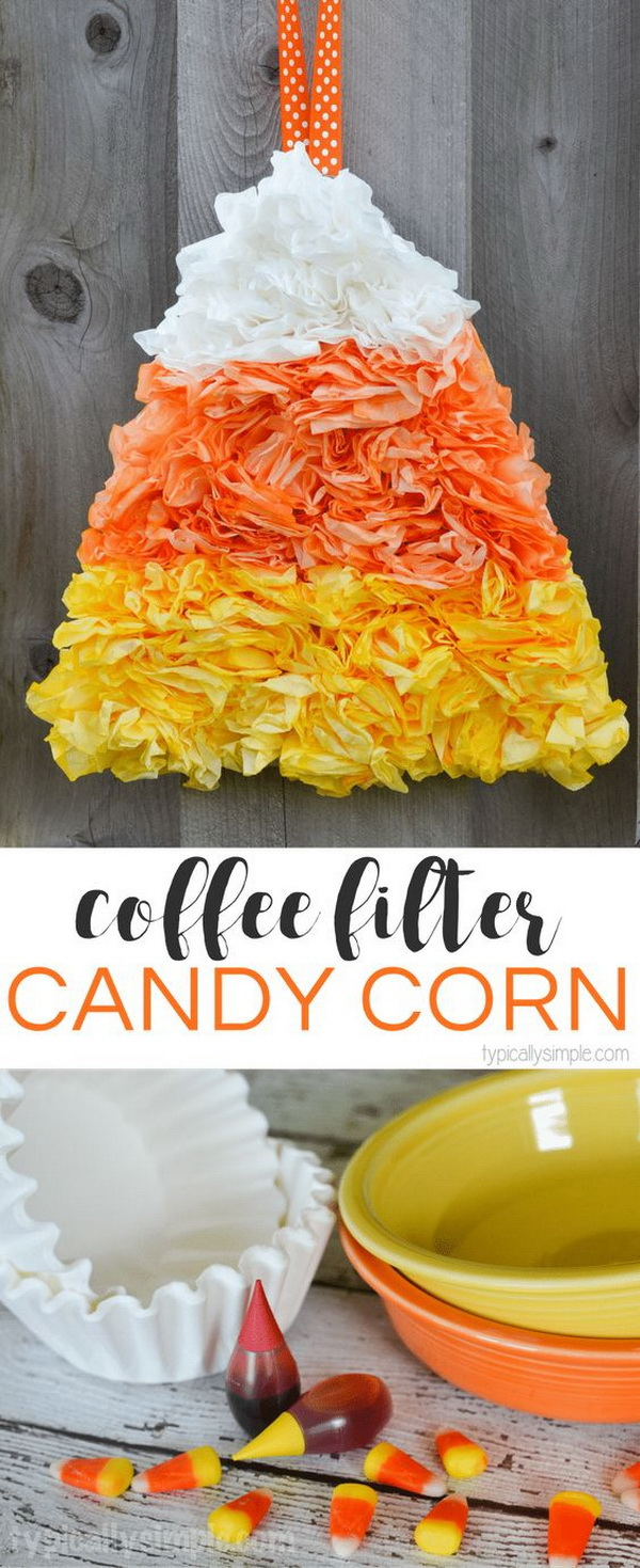 Coffee Filter Candy Corn. Make a creative candy cone wreath with coffee filter for your fall decor. Great kids craft idea during fall season.