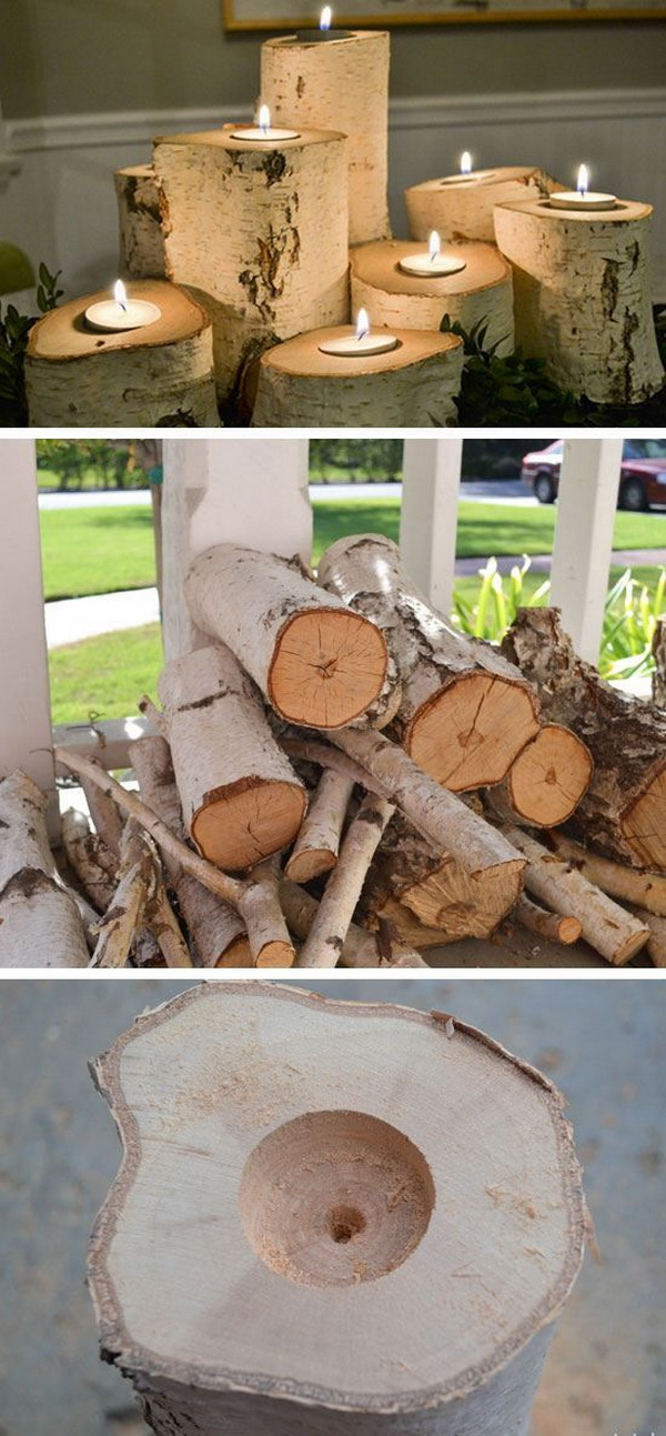 Tree Stump Candle Holders. Add a bit of rustic charm to your holiday with these tree stump candle holders!