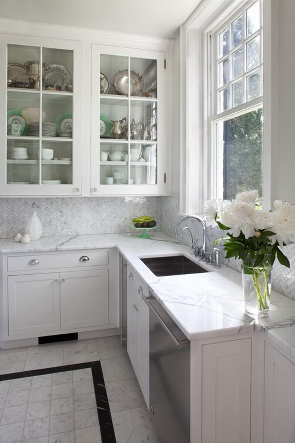 white kitchen backsplash best outdoor kitchens 70 stunning ideas for creative juice the tile is a carrara bianco herringbone elegant with glass front cabinets