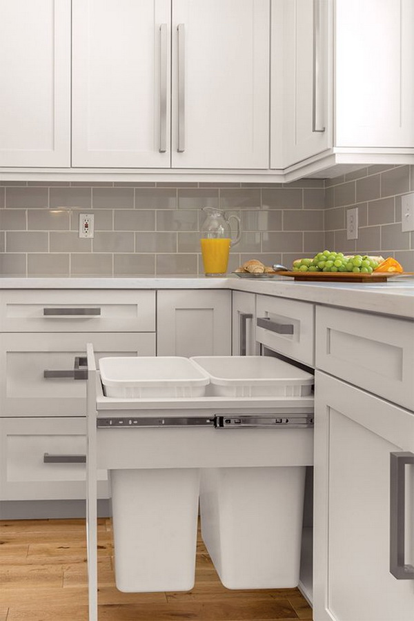 Grey subway tile backsplash.