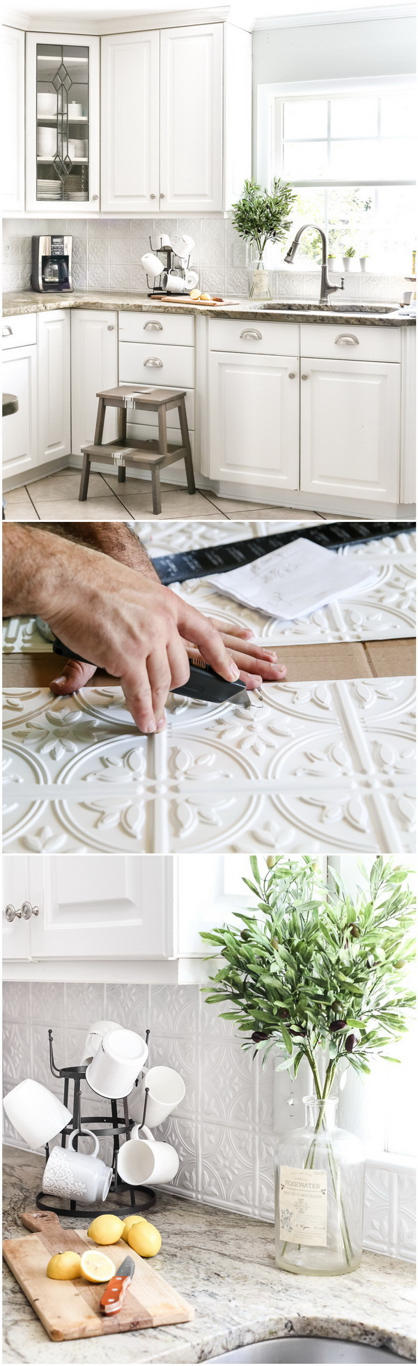 DIY Pressed Tin Kitchen Backsplash. This backsplash looks so delicate and elegant. You can totally do it by yourself.