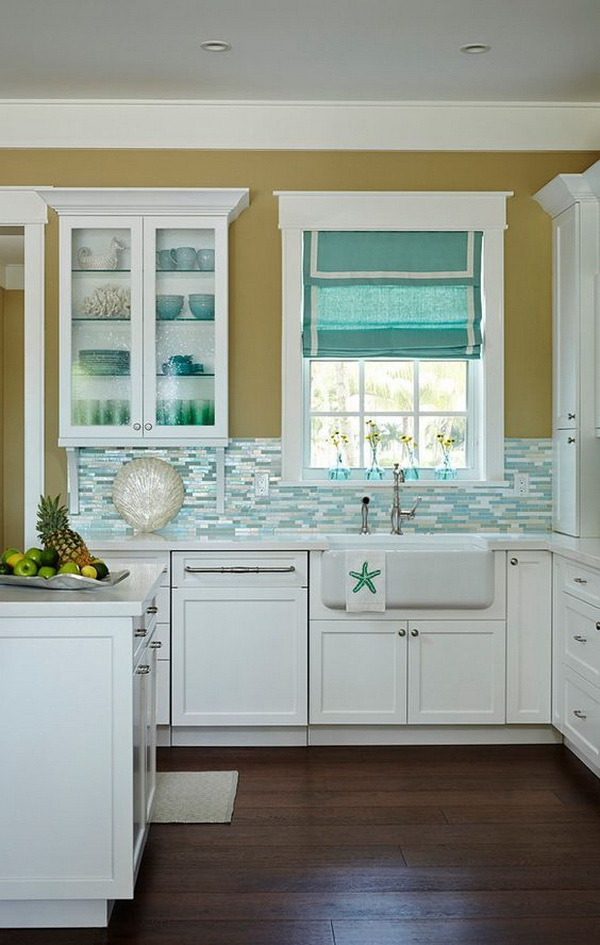 Beautiful Beach House Kitchen with Shimmery Turquoise Tile Backsplash!