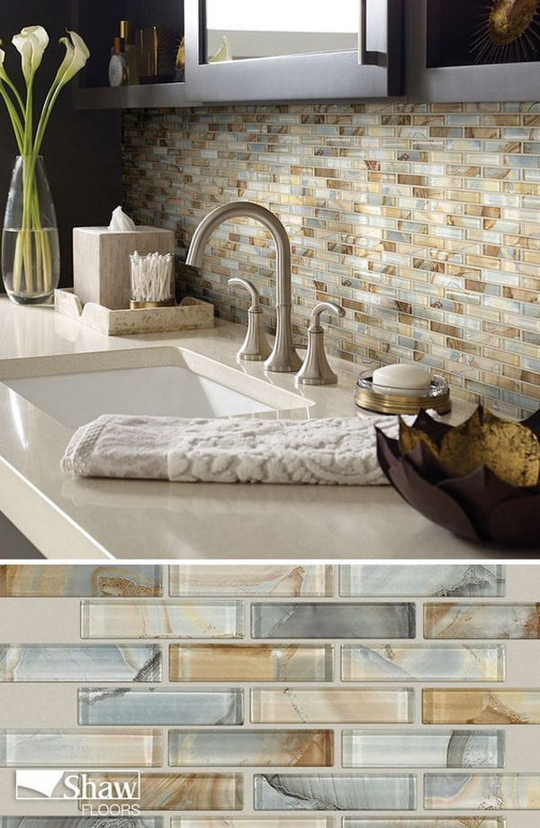 Mercury Glass tile in the color Gilt completes the look of any kitchen back splash or bathroom tiling project.