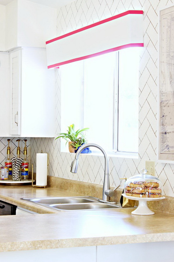 DIY Herringbone Faux Backsplash.