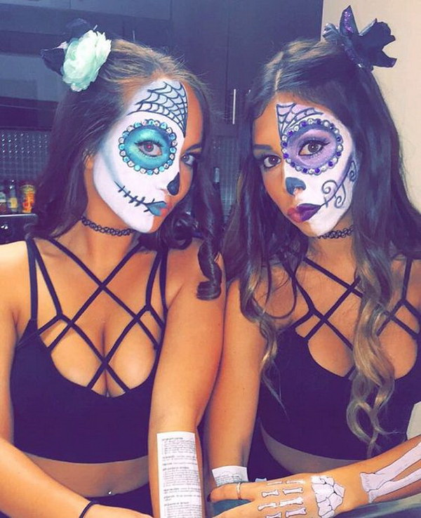 Sugar Skull Half Face Painting. Sugar skull makeup is an obvious choice and tradition for your halloween costumes. You just need to paint half your face like a skull and the other half as simply dressed up.