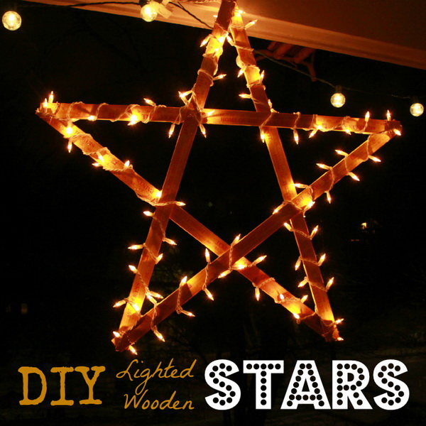 DIY Lighted Wooden Stars. These North lighted star are easy and fun to create. Using 8″ yardsticks or rulers and wrap lights on to it and hang.