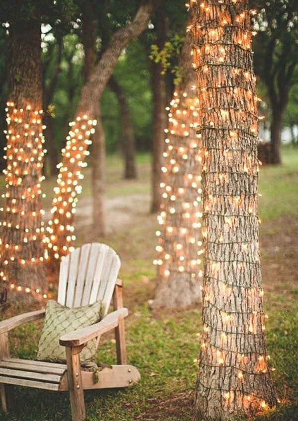 Light up your garden by wrapping the trees with fairy lights! So festive,romantic  and stunning!