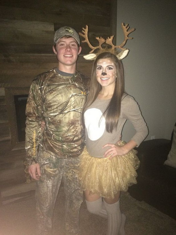 The Deer And The Hunter Couple Coustumes. Stylish Couple Costumes for Halloween.