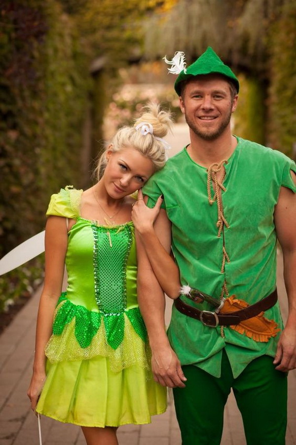 Peter Pan And Tinkerbell Costume. Stylish Couple Costumes for Halloween.
