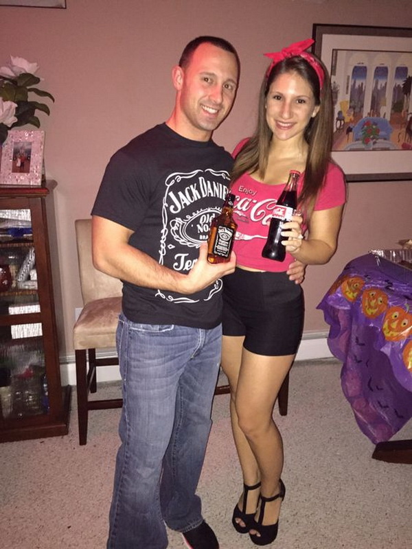 Jack and Coke Couples Costumes. Stylish Couple Costumes for Halloween.