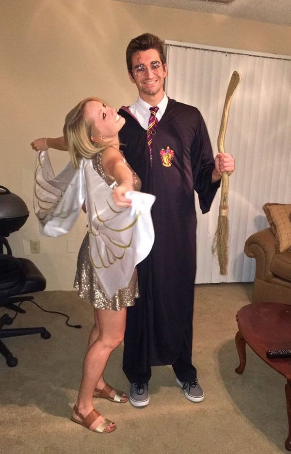 Harry Potter and the Golden Snitch Cute Couples Halloween Costumes. Stylish Couple Costumes for Halloween.