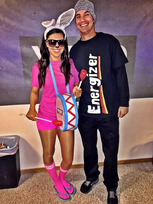 Energizer Bunny And Battery Pack Costume. Stylish Couple Costumes for Halloween.