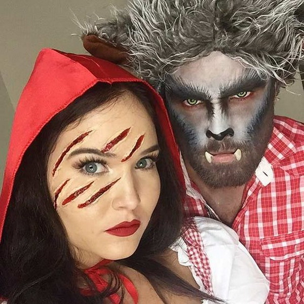 Little Red Riding Hood and Wolf Couples Halloween Costume. Stylish Couple Costumes for Halloween.