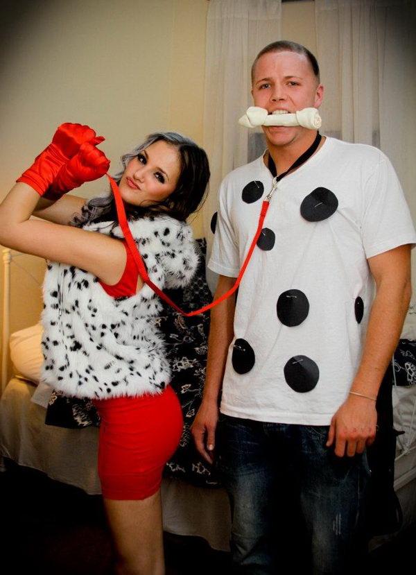 Cruella De Ville and Dalmatian Couples Costume. Stylish Couple Costumes for Halloween.