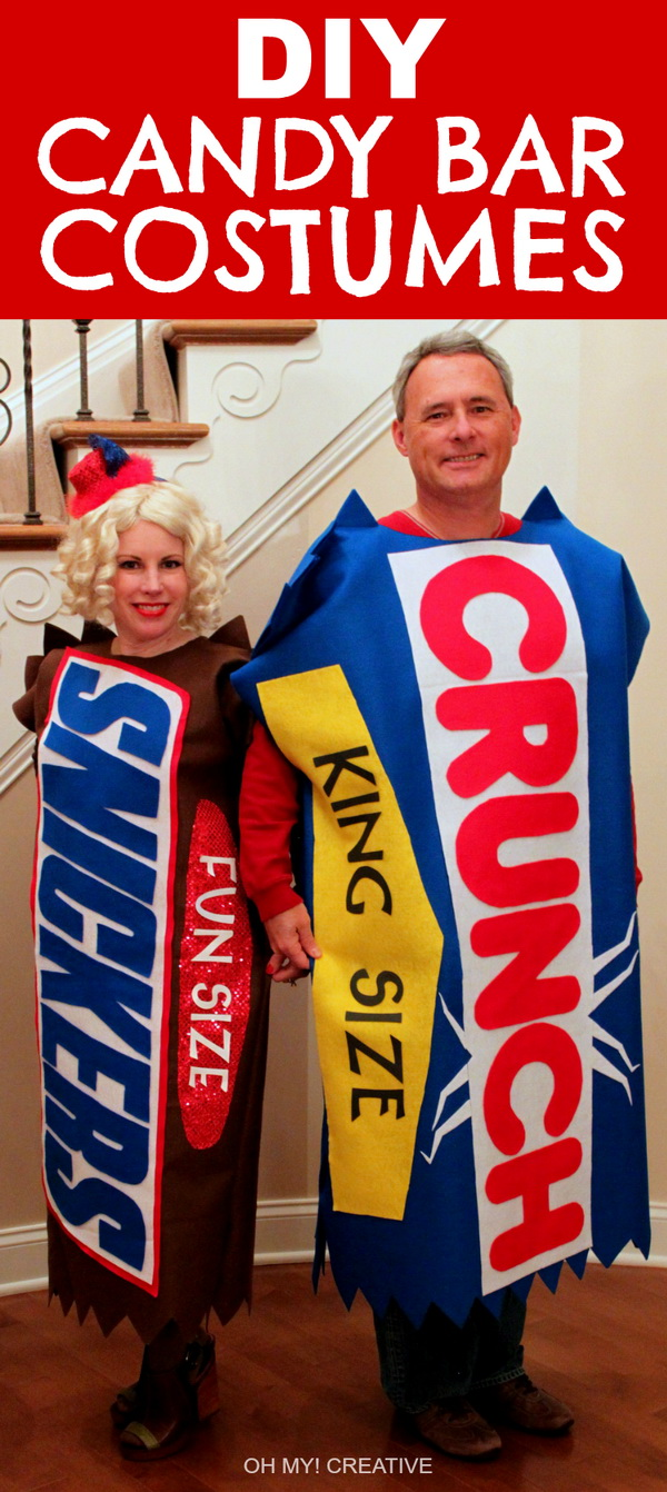 DIY Candy Bar Halloween Costumes. Stylish Couple Costumes for Halloween.