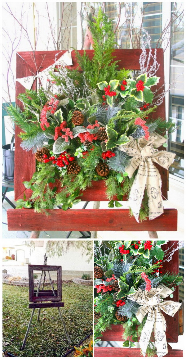 Rustic Christmas Window Box. Take out the old garden frame and decorate it with lots of greenery, berries, twigs, pine cones along with some icy-looking sticks and vintage-looking ribbon for the country rustic look! It is great to place on your front porch for some Christmas cheer that will greet all of our guests over the holidays!