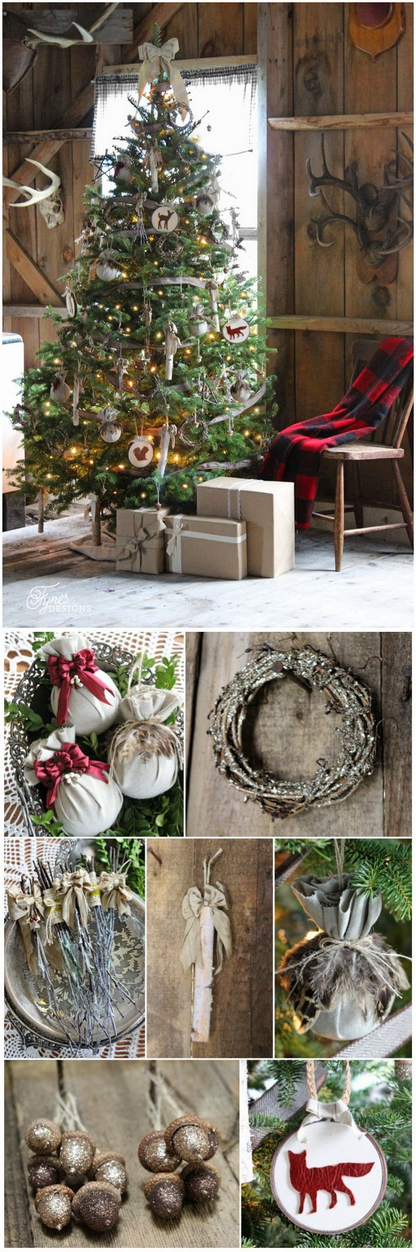 Rustic Christmas Tree. Adorn your Christmas home with this rustic Christmas tree dressed up wooden ornaments, burlap ribbons, dangling birch sticks, glittered acorns, glittered grapevine wreaths, branches and more natural elements.