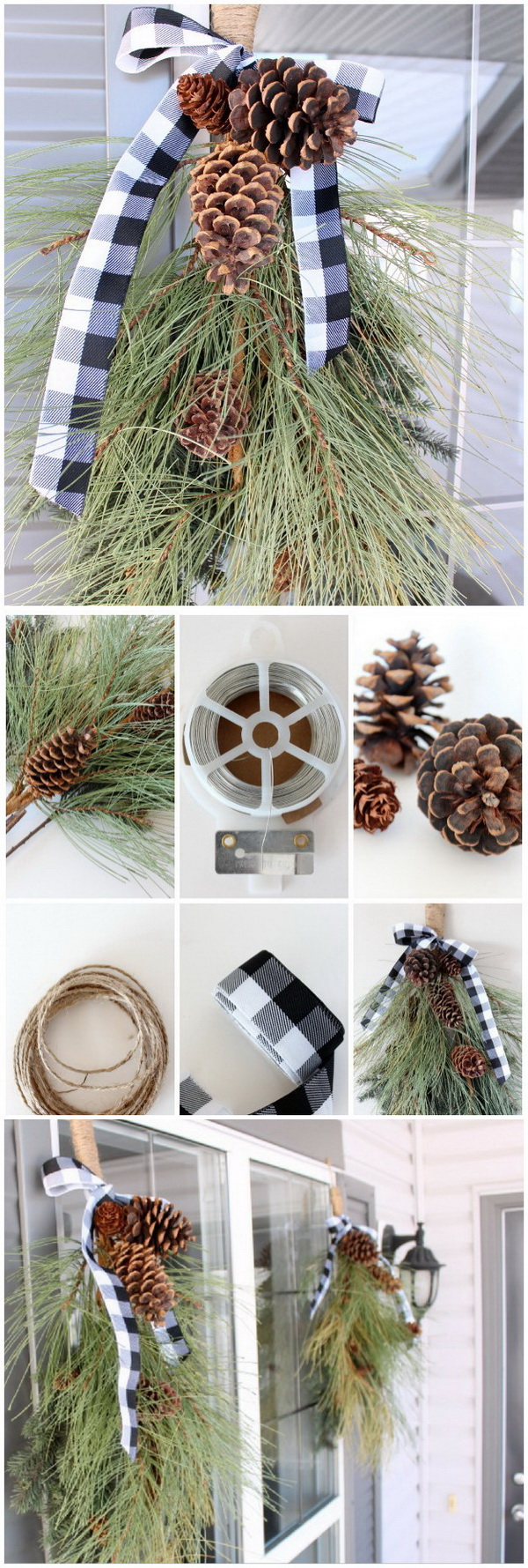 Winter Swag Made with Pine Greenery and Pinecones. This winter swag is an easy DIY holiday project. It will literally take less than 30 minutes to put two of them together. You can use real greenery for your swag or faux or a combination of both. But I love the real ones with the natural elements. Great for decorating your front door!