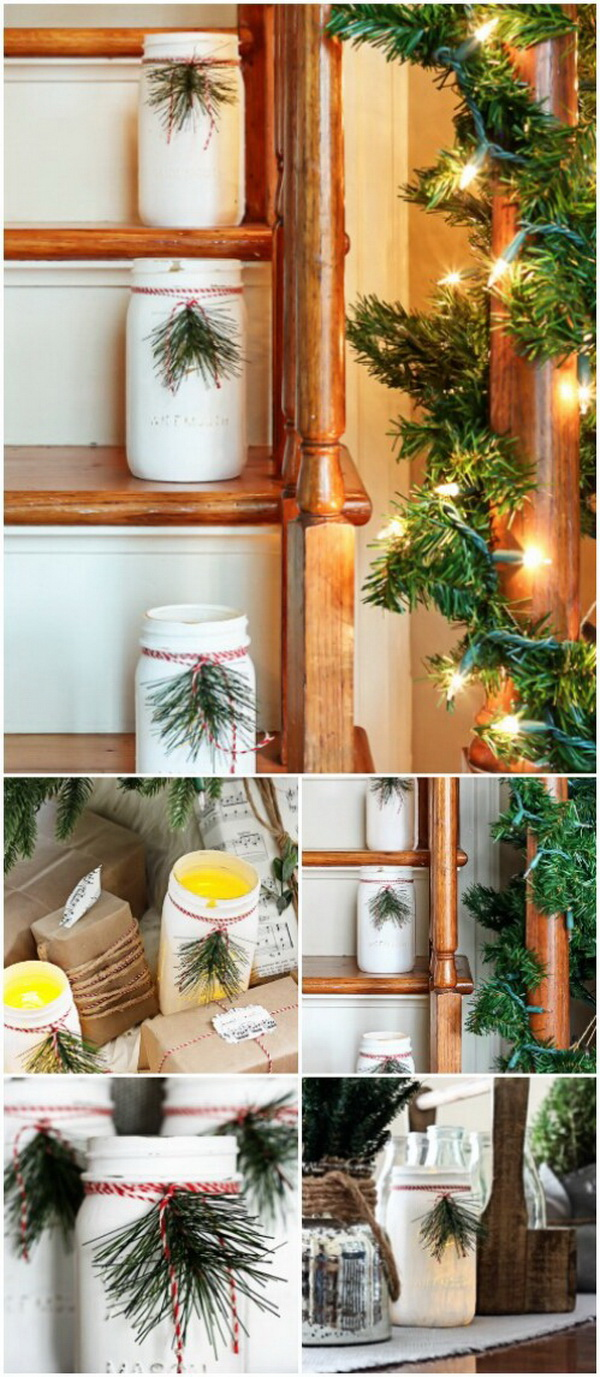 Christmas Mason Jar Luminaries. Use mason jars in your farmhouse decorating with this project! Paint the jars white, add some festive ribbon or greenery and a tealight candle and use them to light up your staircase and add a bit of country Christmas to your décor. Or you can give them out as gifts, as well.