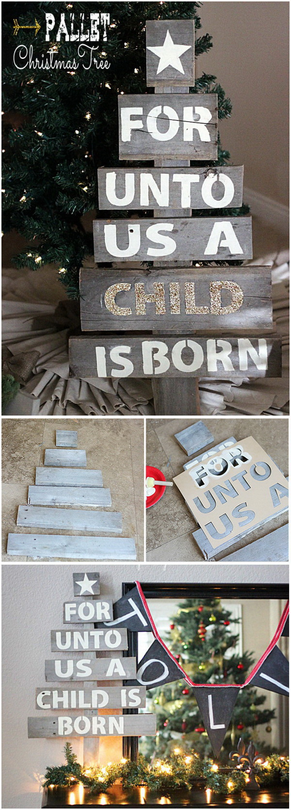 Easy Upcycled Pallet Christmas Tree. Make a Christmas tree from an old pallet and it will be a prefect addition to your christmas decoration.