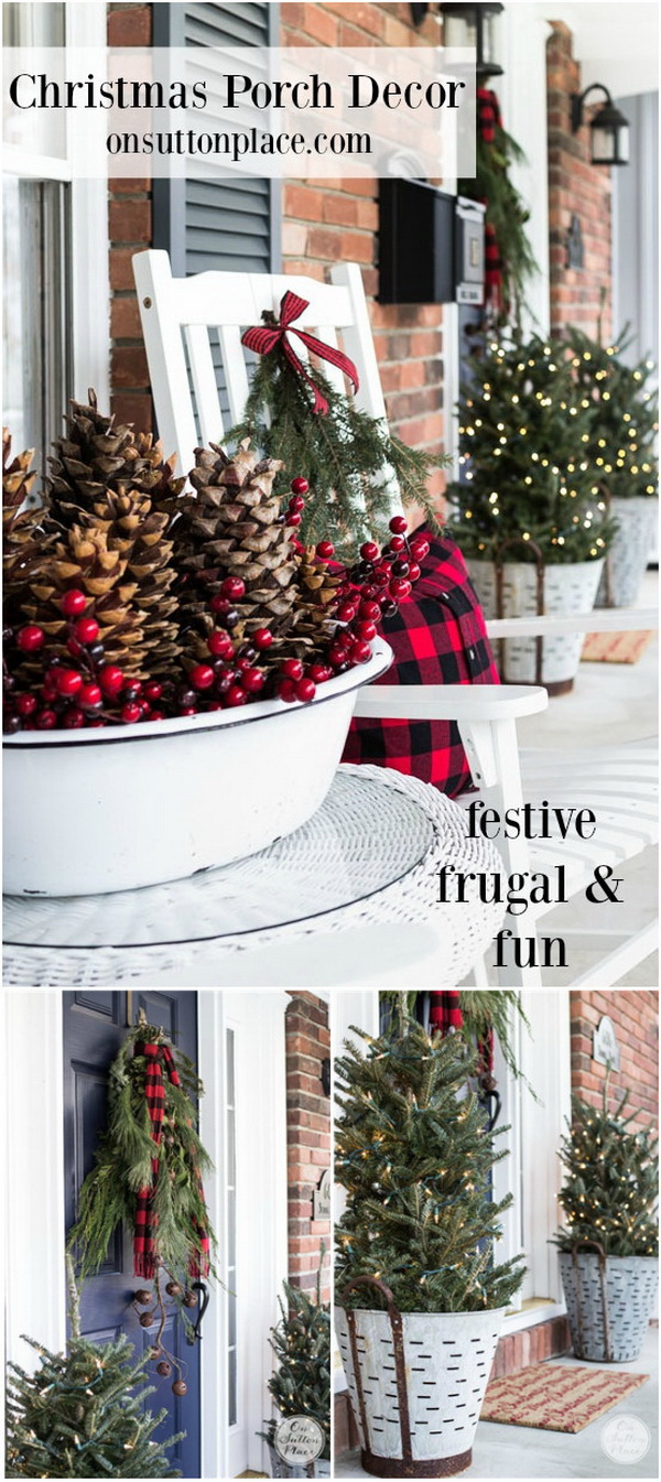 Farmhouse Front Porch. A couple of white porch chairs, a metal bowl with pinecones, evergreen, and maybe a few sprigs of cranberries, and a throw in reds and blacks will give you the perfect farmhouse front porch.