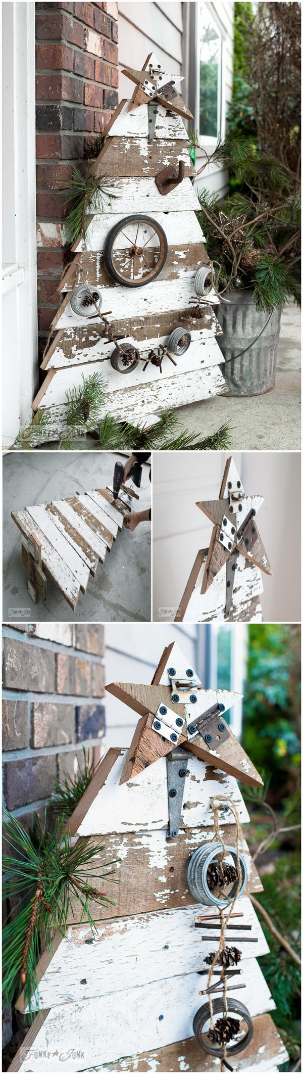 Reclaimed Wood Christmas Tree And Star. This gorgeous tree is made from old wood planks or the pallets. You just need form the tree with the wood and then give it a distressed look and add a few pinecones and other rustic decorations. It gives your outdoors that farmhouse look on the porch or in the front yard.
