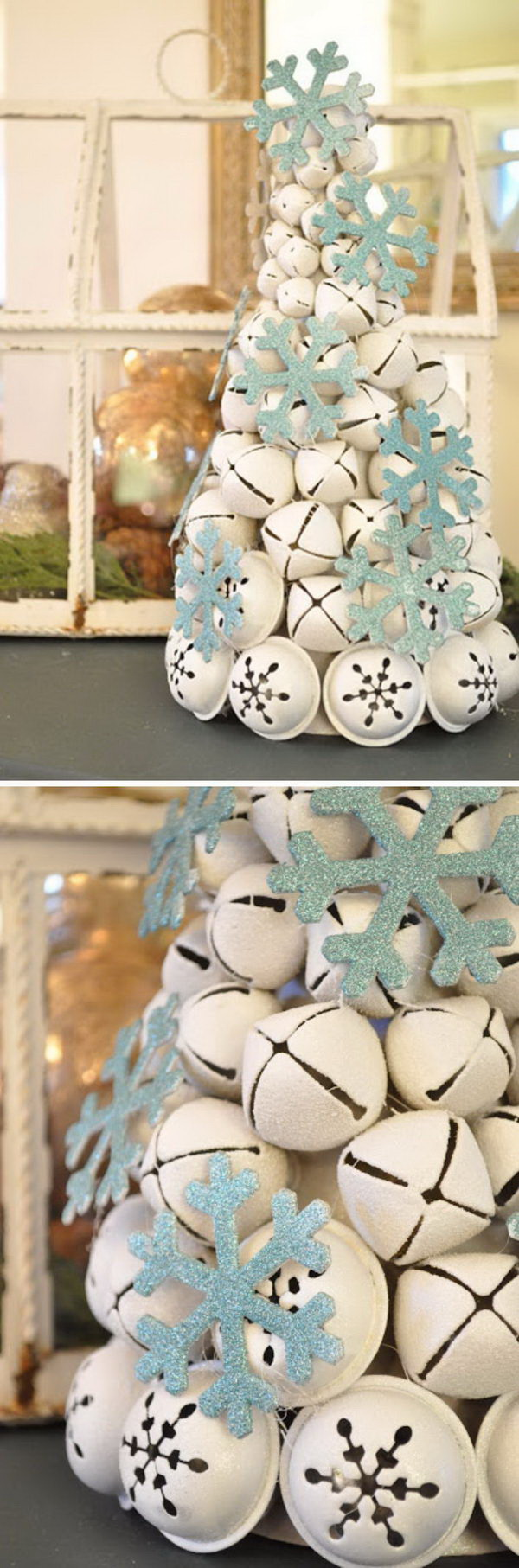 DIY Jingle Bell Tree. A DIY Christmas tree made with jingle bells paired with the snowflake ornamens makes this the perfect Christmas project for your mantlepiece.