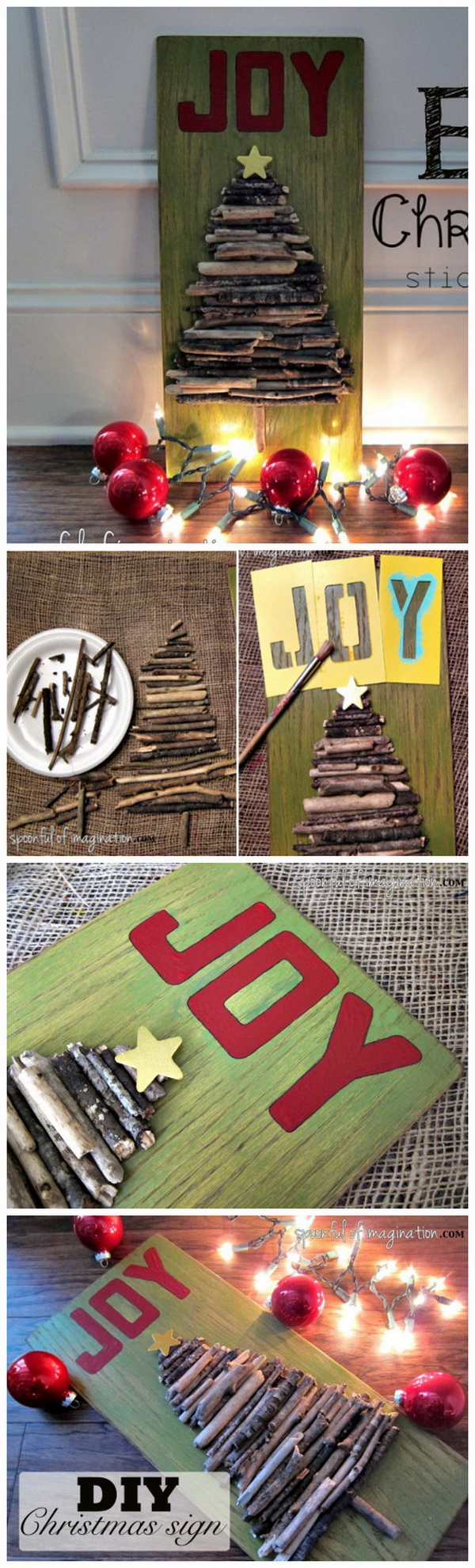 Stick Christmas Joy Sign. Create a beautifully rustic Christmas sign with a few sticks in several steps! It is great to hang either indoors or outdoors and brings in much natural color to your holiday decor!