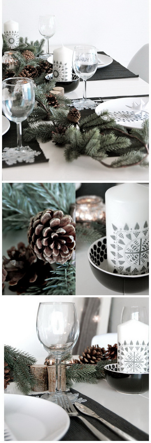 Pinecone Table Garland. Create a stunning and rustic table with a pinecone garland with those leftover evergreens and a few pinecones. It will surely add little extra rustic touch to your decor whether you set it on the dining room table or you want something special for the mantel.