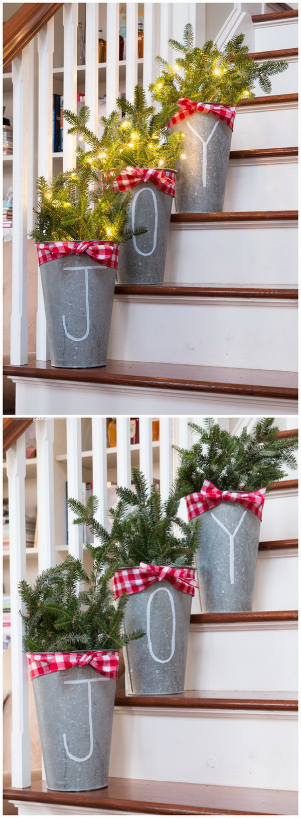 Chalk Pen Galvanized Buckets. This JOY galvanized buckets is so simple and yet so pretty and festive. Love Love Love!!!