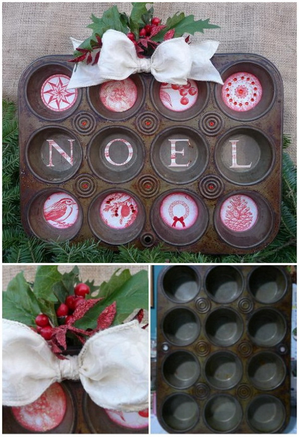 Repurposed Muffin Tin. Repurpose the old rusty muffin tin into this Christmas decoration and bring in much country farmhouse look. It looks great whether you hang it in the kitchen, dining room, or living room. Just paint a Christmas message or scene and add ribbon, garland, or any other festive touch, now you've got the perfect farmhouse tree to add to your country Christmas look.