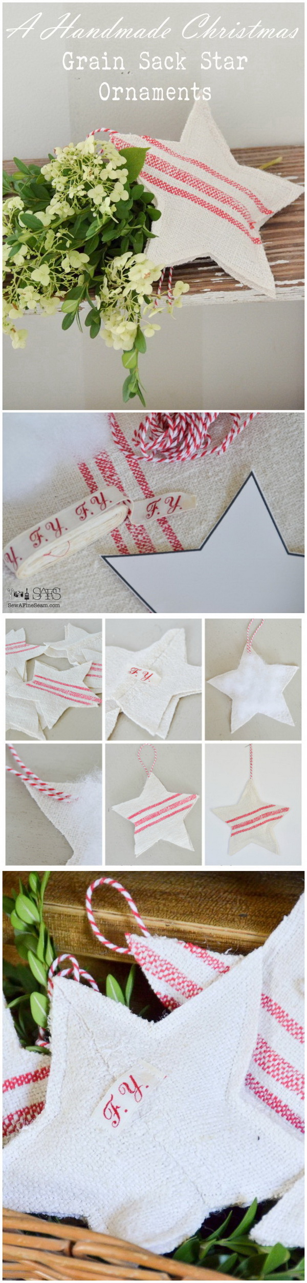 Grain Sack Star Christmas Ornaments. Add some rustic charm to your farmhouse style Christmas tree with these easy and simple grain sack star ornaments!
